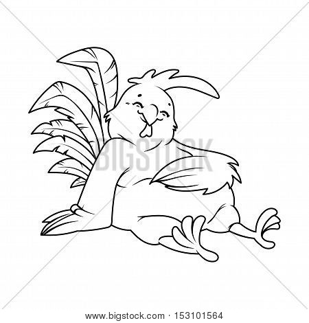 Cartoon fat rooster. Symbol of 2017. Vector character on a white background.