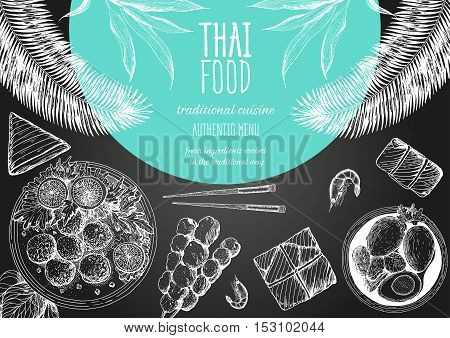 Asian food background. Asian food poster. Thai food menu restaurant. Thai food sketch menu. Vector illustration