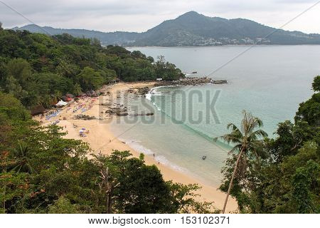 LAEM SINGH BEACH THAILAND - NOVEMBER 07 2013: a view from viewpoint full of relaxing people between Surin and Kamala