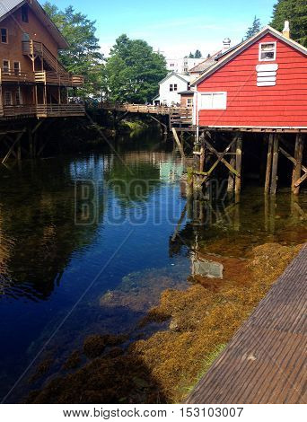 Scene Of Historical Creek Street, Ketchikan Alaska.