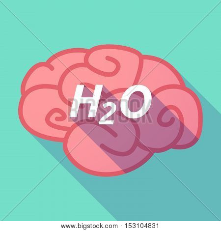 Long Shadow Pink Brain Icon With    The Text H2O