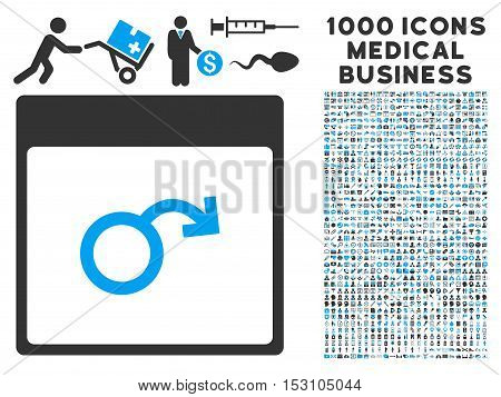 Blue And Gray Impotence Calendar Page glyph icon with 1000 medical business pictograms. Set style is flat bicolor symbols, blue and gray colors, white background.