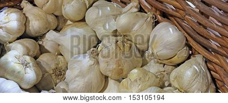 Background Of Cloves Of Garlic For Sale At The Greengroce
