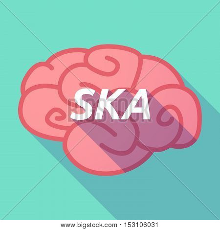 Long Shadow Pink Brain Icon With    The Text Ska