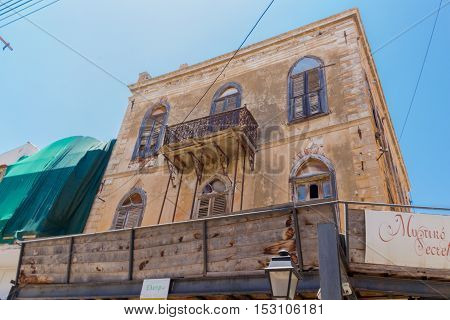Rethymno Greece. July 26. 2016: Old building in Old City of Rethymno. Rethymno is the 3rd largest city of the island. Crete attracts 2.8 million annual tourists (2011).