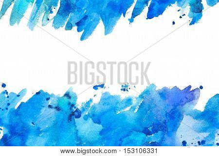 Abstract blue spreading watery frame.Aquatic backdrop.Watercolor hand drawn image.Wet splash.White background.