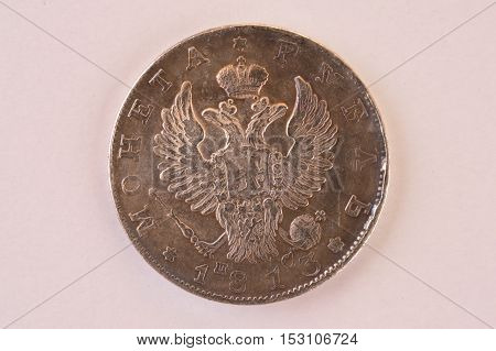 Coin silver ruble 1813 Russia vintage downside