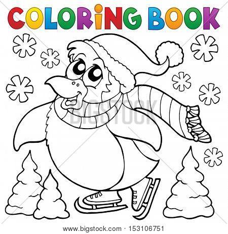 Coloring book happy skating penguin - eps10 vector illustration.