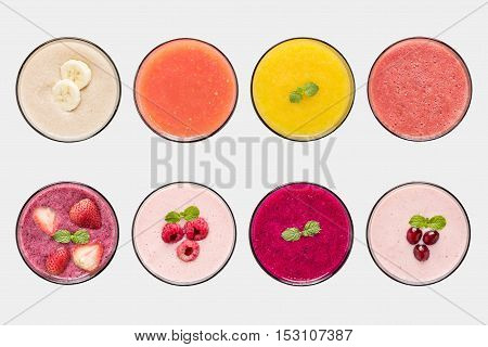 Mockup Fruit Smoothie And Fruit Juice Set Isolated On White Background. Clipping Path Included On Wh