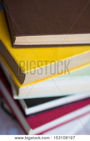 Closeup Of Stacked Old Books And Textbook