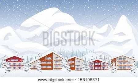 Mountain ski resort in snowing winter. Vector illustration