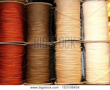 Skeins Of Colored Threads Of Wool And Cotton