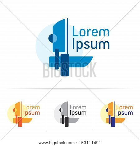 Abstract modern composition, yachting, sailing sport, geometry shapes, element for your company logo, vector design