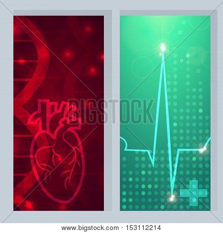 Heart pulse logo - 2 medical wallpaper, vector illustration.Heart logo on gene chain dna pattern.Pulse beat on green blur pattern dotted wallpaper.Medical wallpaper for medical site, cardiology clinic