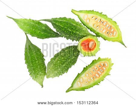 top view of fresh balsam apple balsam pear bitter cucumber bitter gourd bitter melon isolated on white