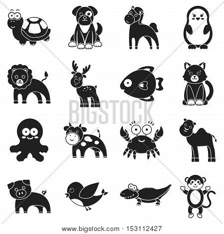Animals set icons in black style. Big collection animals vector symbol stock