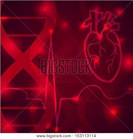 Heart pulse logo - medical wallpaper, vector illustration.Heart logo and pulse beat cardiogram logo on crimson gene chain dna pattern.Medical wallpaper for medical site, cardiology clinic
