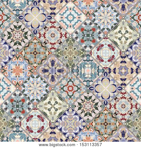 Abstract patterns in the mosaic set. Square scraps in oriental style. Vector illustration. Ideal for printing on fabric or paper.