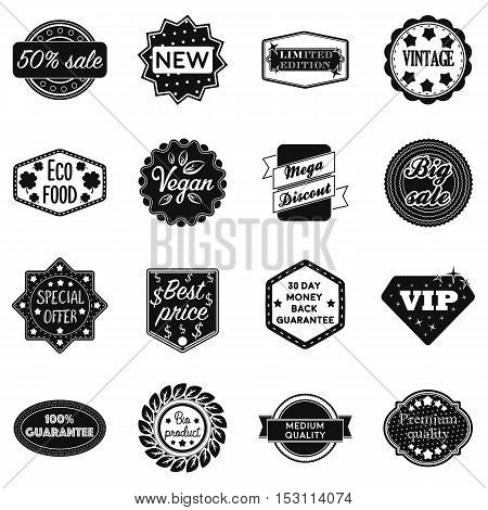 Label set icons in black style. Big collection label vector symbol stock