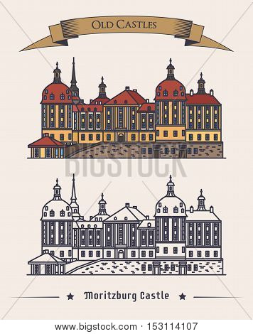 Moritzburg germany castle in saxony exterior or outdoor view. Retro baroque architecture of schloss palace or building. Can be used for old or vintage landmark or history book theme