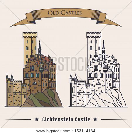 Lichtenstein or fairy tale castle on mountain. Schloss palace medieval architecture in Honau exterior or outdoor view. May be used for retro or old monument or landmark, heraldic theme