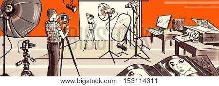 Photographer shooting model in studio, studio illuminators, soft box, camera, printer, computer, fashion magazines. Fashion photo shoot, brown, beige, orange. Pencil.