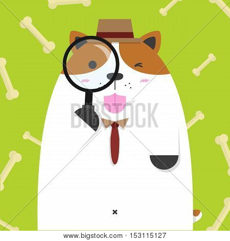 cute big fat Jack Russell dog as detective on bone pattern green background