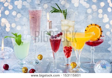 Festive cocktails for holiday on the silver tray