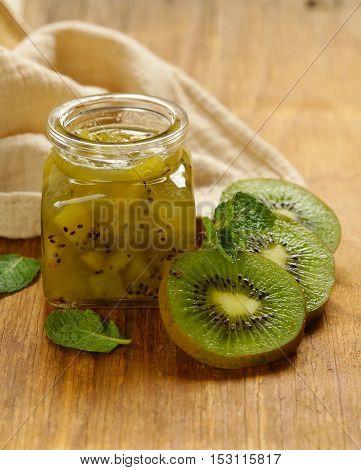 Homemade organic jam of kiwi. Healthy natural food