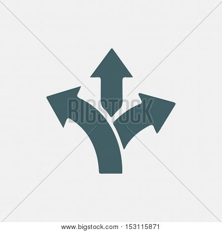 three-way direction arrow, three way arrow sign, road direction, road direction icon, vector illustration