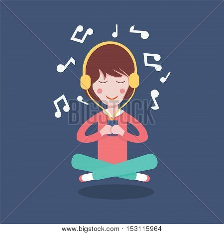 Happy Girl with headphones listening to the music. Vector illustration flat cartoon pretty woman