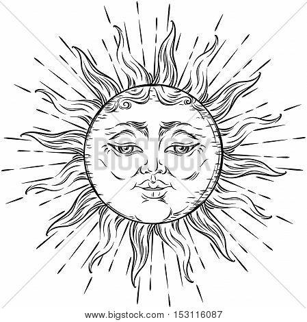 Antique Style Hand Drawn Art Sun. Boho Chic Tattoo Design Vector