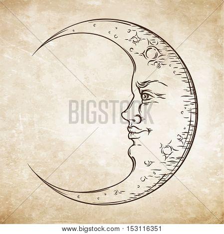 Antique Style Hand Drawn Art Crescent Moon. Boho Chic Tattoo Design Vector
