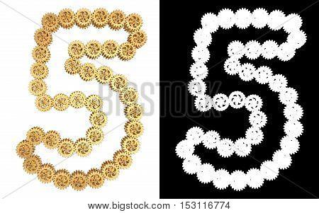 Number five from gold gear mechanism. Alpha channel. 3D illustration