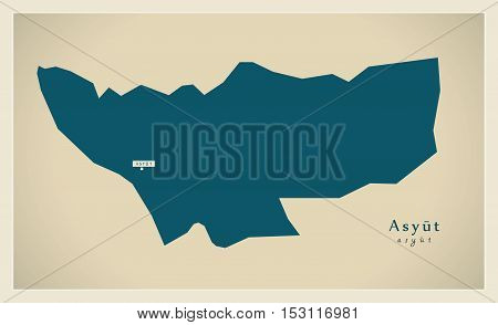 Modern Map - Asyut EG vector high res