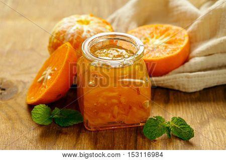 Homemade organic jam of citrus, orange, manadarin. Healthy natural food
