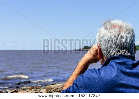 A Man Looks Through His Binoculars A Ziphiid Aground Off The Coast Of Buenos Aires