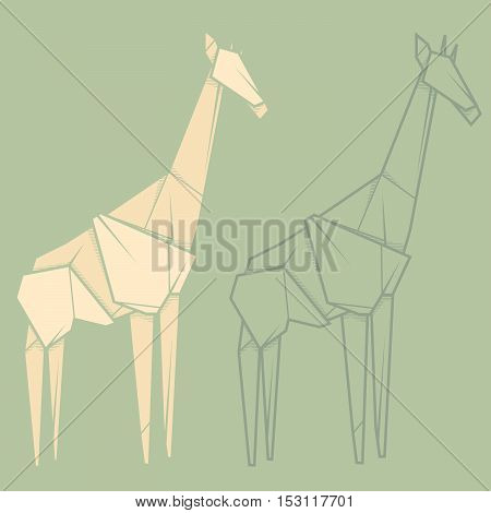 Set vector simple illustration paper origami and contour drawing of giraffe.