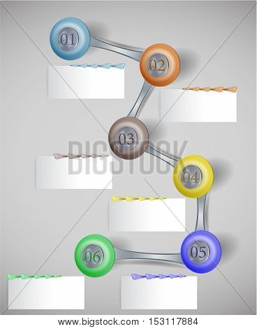 Infographics step by step template with buttons, paper banners and arrows. Six colorful buttons and banners with arrows for webdesign and infographic
