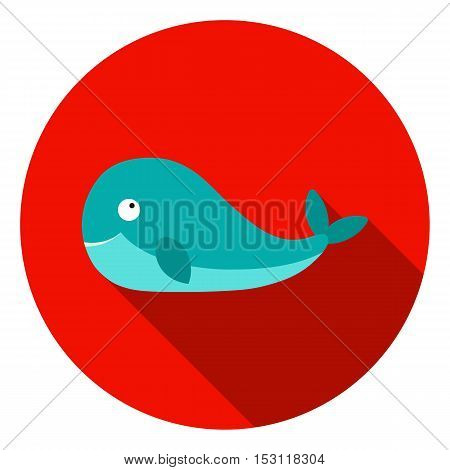 Whale icon in flat style isolated on white background. Animals symbol vector illustration.