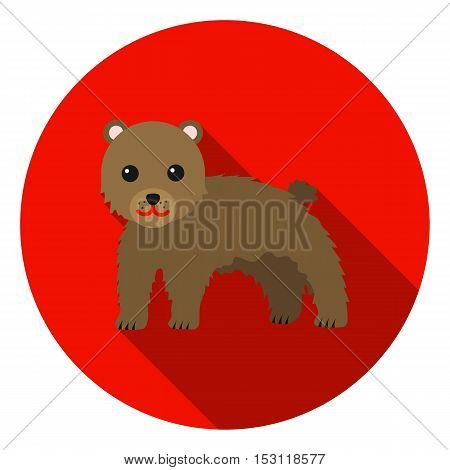 Bear icon in flat style isolated on white background. Animals symbol vector illustration.