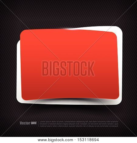 Blank red and white speech bubble tag layered with shadow vector illustration