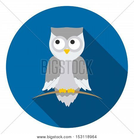 Owl icon in flat style isolated on white background. Animals symbol vector illustration.