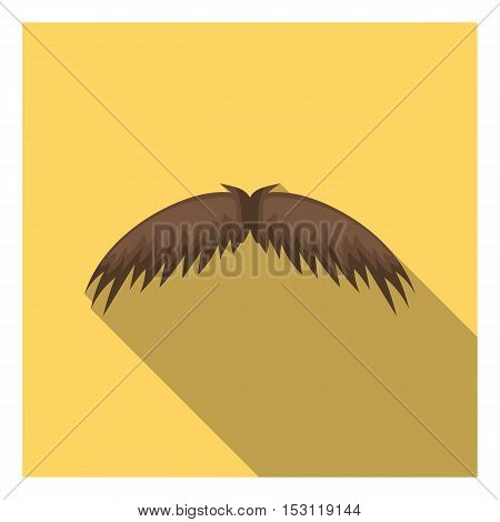 Man's mustache icon in flat style isolated on white background. Beard symbol vector illustration.