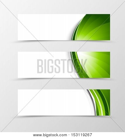Set of header banner wave design with green lines in dynamic smooth style. Vector illustration