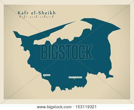 Modern Map - Kafr-el-Sheikh EG vector high res