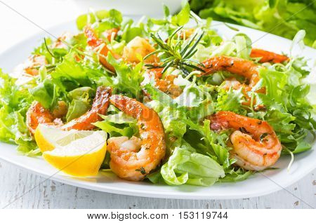 Seafood shrimp prawns. Srimp lettuce salad on white plate with lemon rosemary arugula on white wooden background. Healthy food or diet concept.
