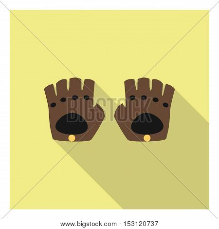 Leather gloves icon in flat style isolated on white background. Clothes symbol vector illustration.