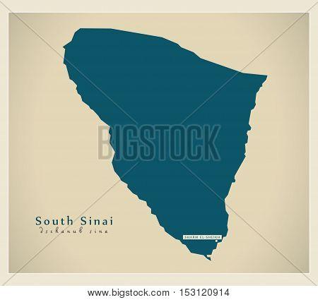 Modern Map - South Sinai EG vector high res poster