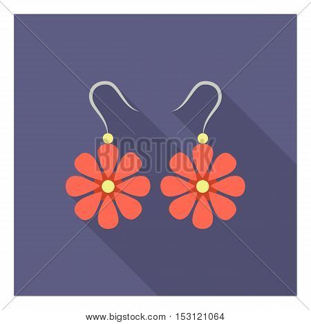 Earrings icon in flat style isolated on white background. Clothes symbol vector illustration.